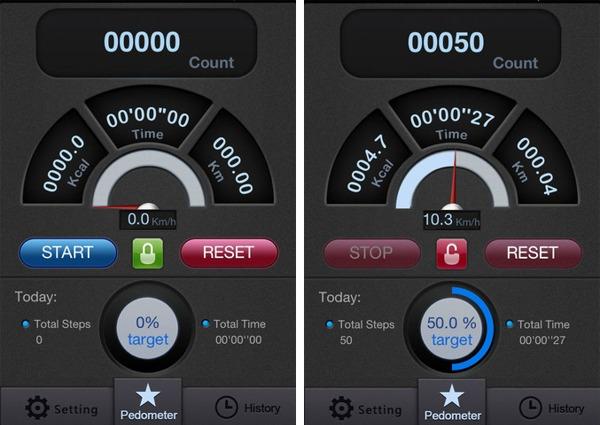 BLE_Pedo interface example screenshots